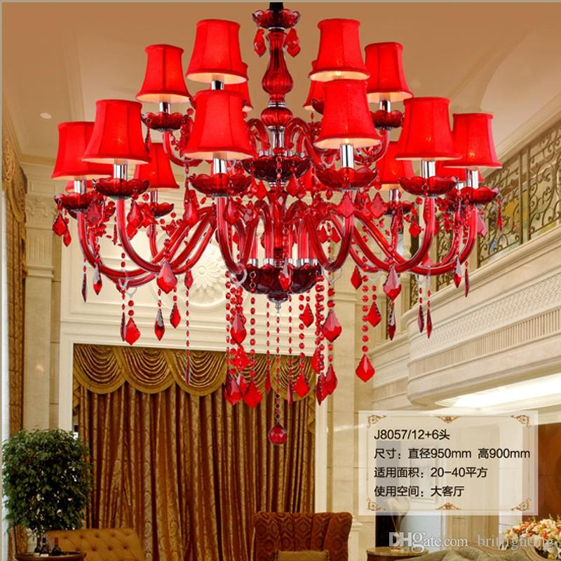 Acheter Haut Plafond Rouge Salon Lustre En Cristal Grand Led Lustre