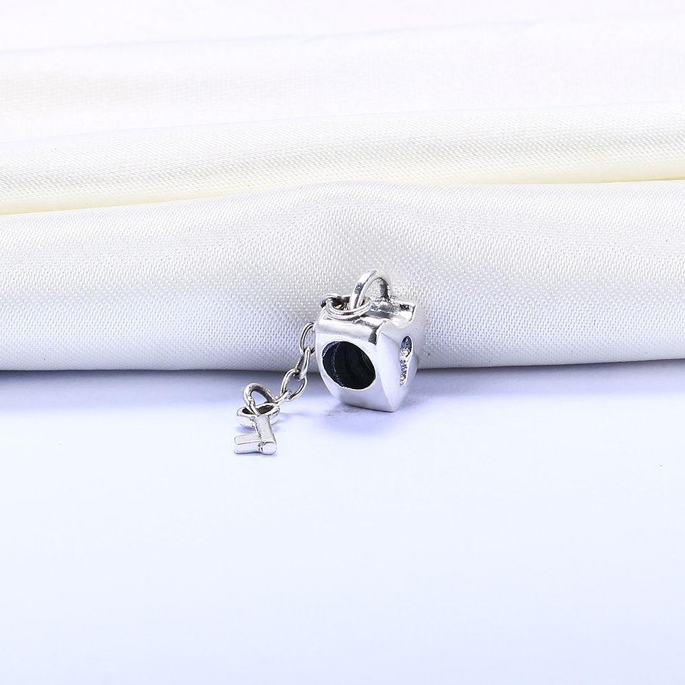 Gros Real 925 Sterling Silver Non Plaqué Amour Coeur Serrure Européen Charmes Perles Fit Pandora Serpent Chaîne Bracelet DIY Bijoux