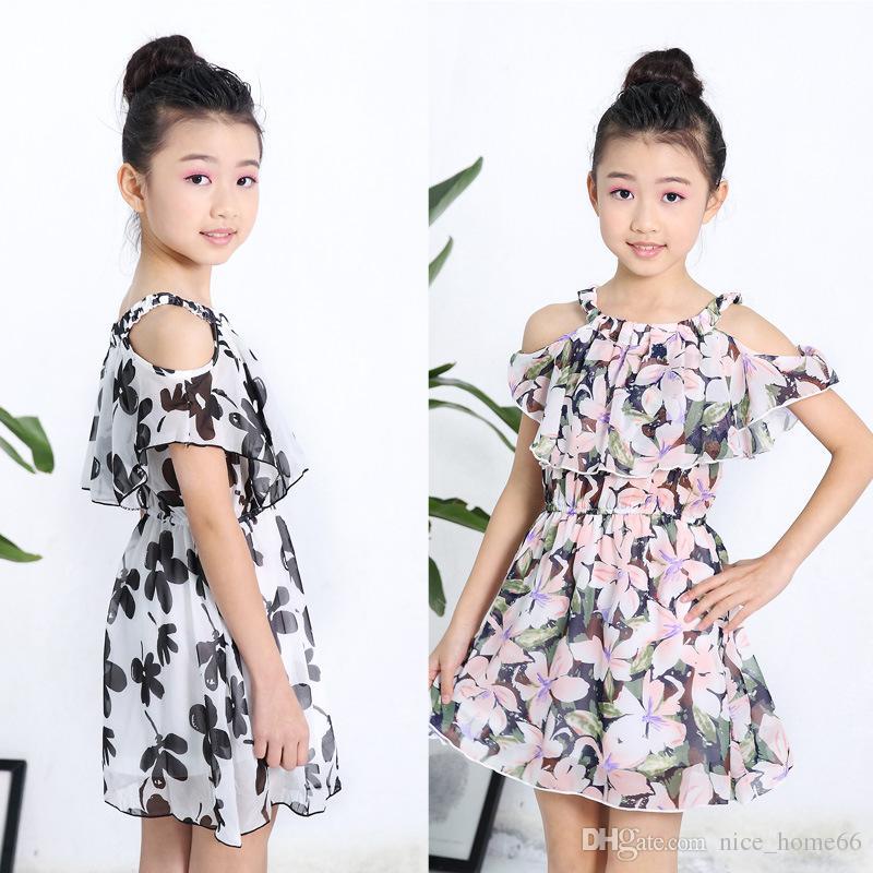 43a8f450cd69f Satın Al Yaz Kızlar Elbiseler Kızlar Şifon Askı Straplez Elbise Çocuklar  Çiçek Baskı Elbise Prenses Kız Tutu Elbise Kızın Elbiseler, $8.3 |  DHgate.Com'da