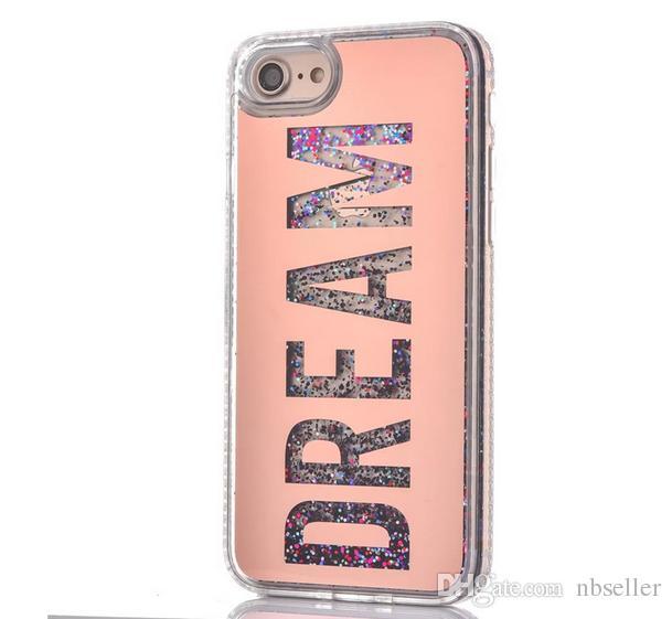 Moda menina sonho glitter areia movediça líquido phone case de volta com o diamante tpu soft side para iphone 6 6 plus 6 s plus 7 7 plus