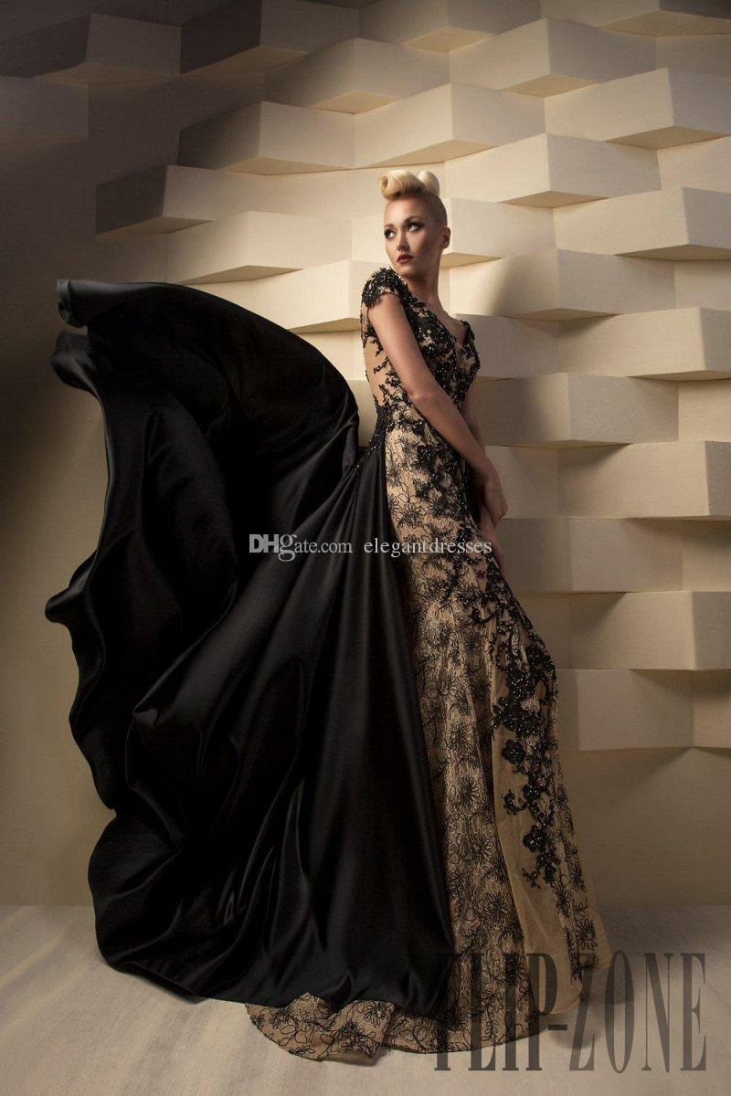 2021 ToumaJea Negro Noche Vestidos formales Longitud del piso con vestido de fiesta desnudo con apliques de encaje Vestido de vestido de noche de tul para vestidos de fiesta