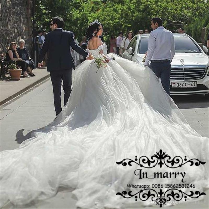 Großhandel Prinzessin Kathedrale Zug Ballkleid Brautkleider 2018 Off ...