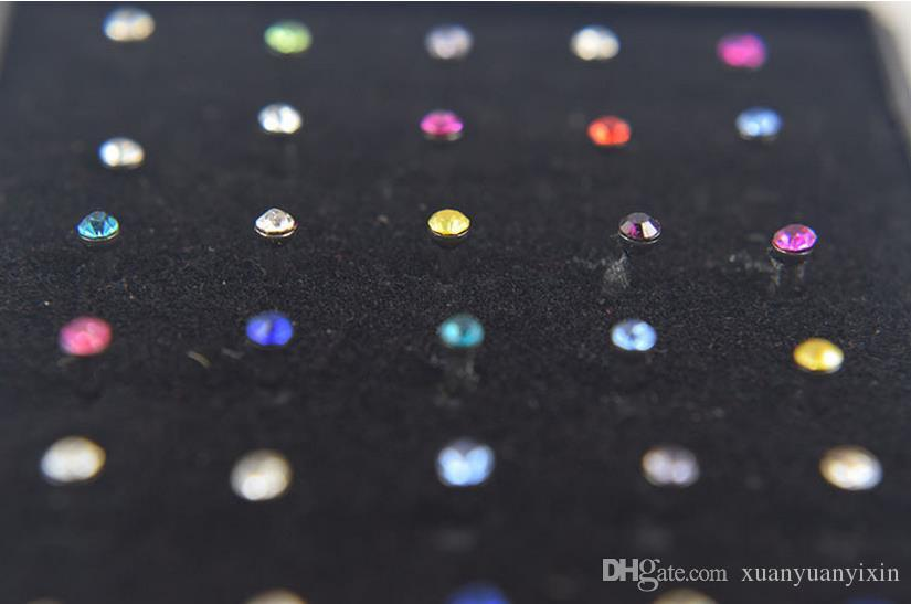 Heißer verkaufender Boby Schmuck indischer Art / set Kristallrhinestone-Nasen-Ring-Knochen-Bolzen-chirurgischer Stahlkörper-Piercing-Schmucksachen 10 Sätze / Los