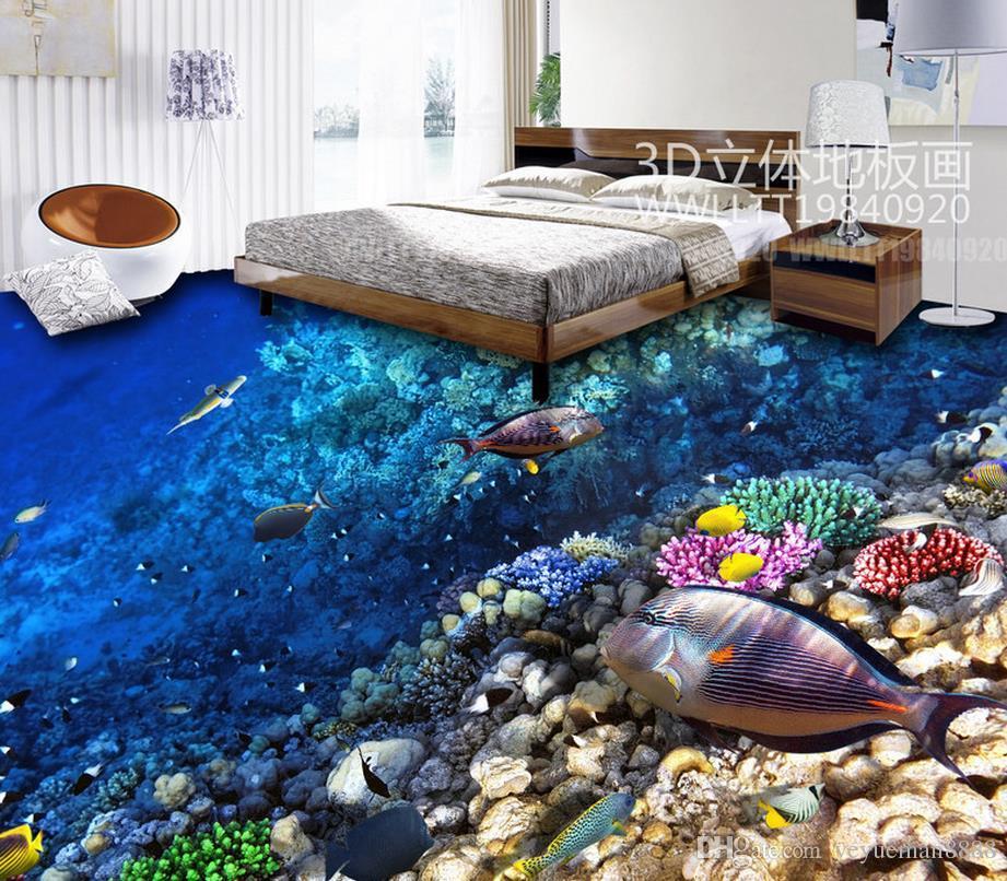 Custom pvc flooring roll The underwater world 3d landscape wallpaper floor mural living room modern wallpaper for the bedroom floor