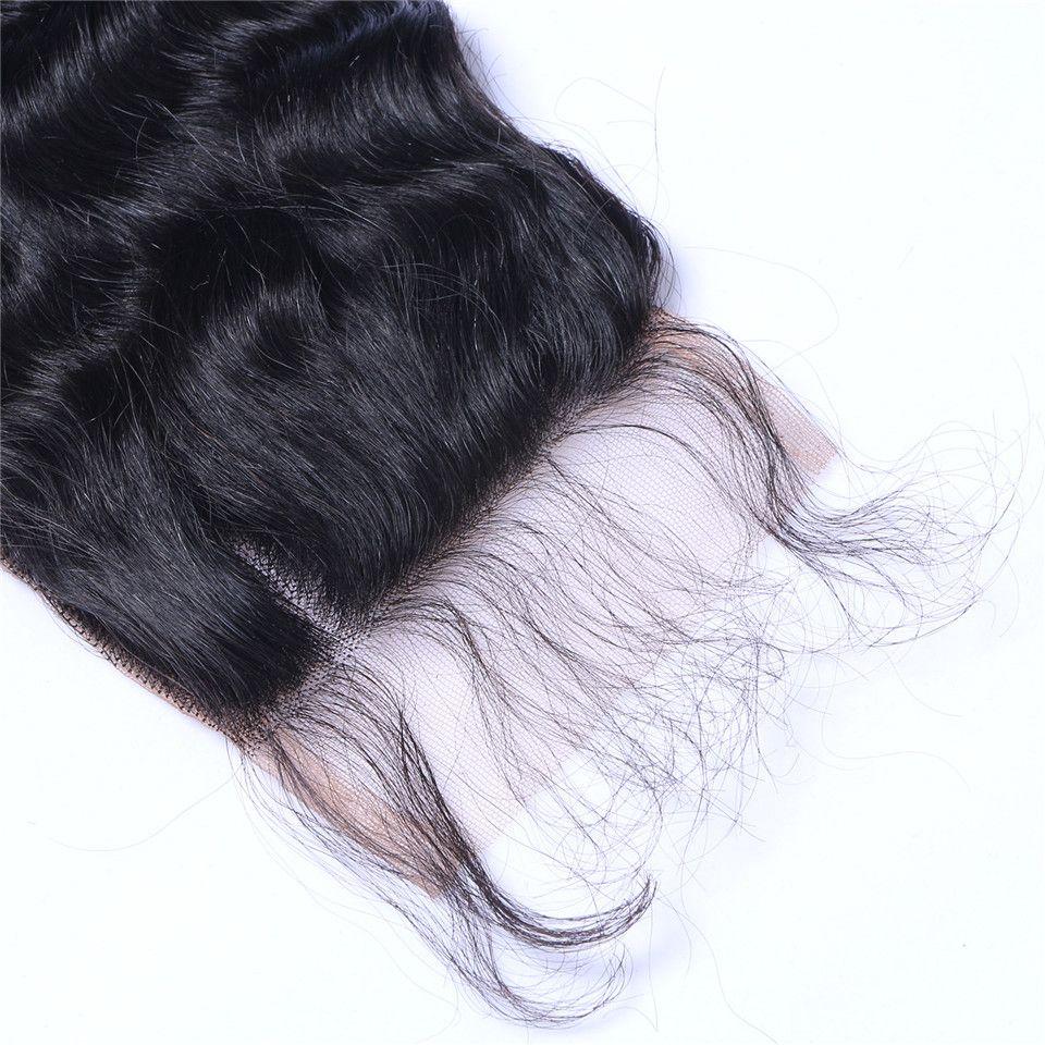 깊은 파도 4x4 인간의 머리카락 레이스 클로저 자연 블랙 표백 된 매듭 사전 뽑아