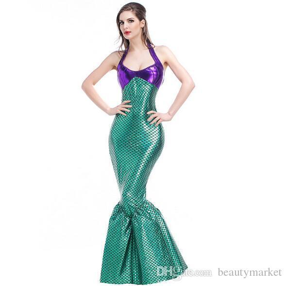01eb49fdea605 Halloween Women Sexy Mermaid Tail Costume Princess Ariel Little Mermaid  Costume Stage Performance Clothing Swimming Suit Cosplay Psxy1722 Dog  Halloween .