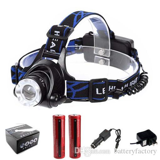 무료 DHL, 고품질 2000 루멘 크리 XM-L XML T6 LED 헤드 램프 헤드 라이트 헤드 램프 빛 + 2 18650 배터리 + 2x 충전기