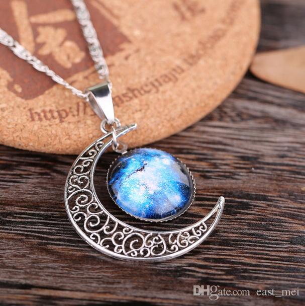 Hochwertiger Abschnitt Stern durch die Halskette Sky Moon Edelstein Halskette WFN194 mit Kette Mischungsauftrag 20 Stück viel