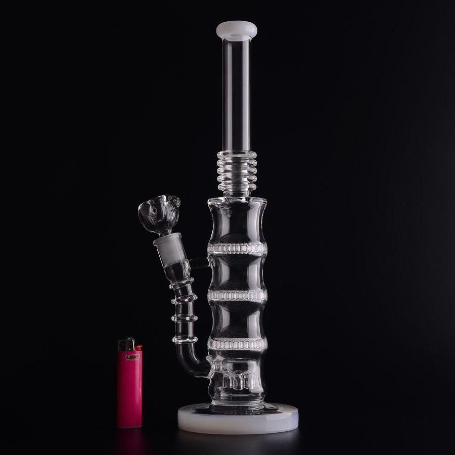 BAMBOO shape Triple Honeycomb Perc Bong 50x5mm Glass Water Pipes Percolator Bongs 6 arms tree perc at BOTTOM