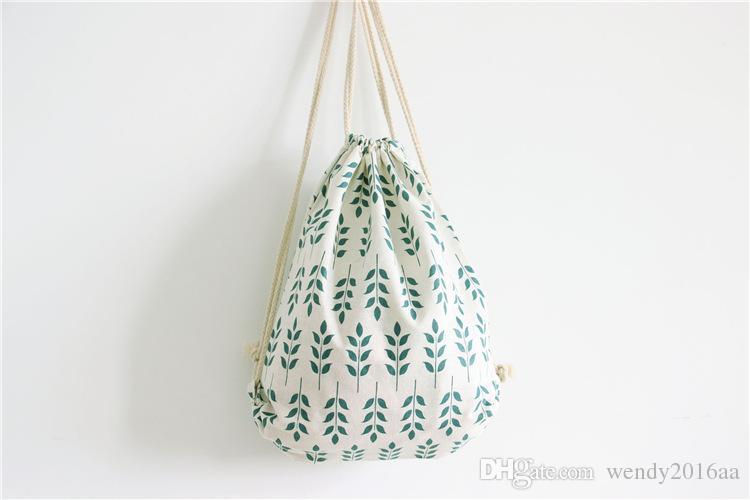 / 2017 New Brief coton lin sac à dos style femmes fille étudiant rayé cordon sacs à bandoulière coloré sac à bandoulière