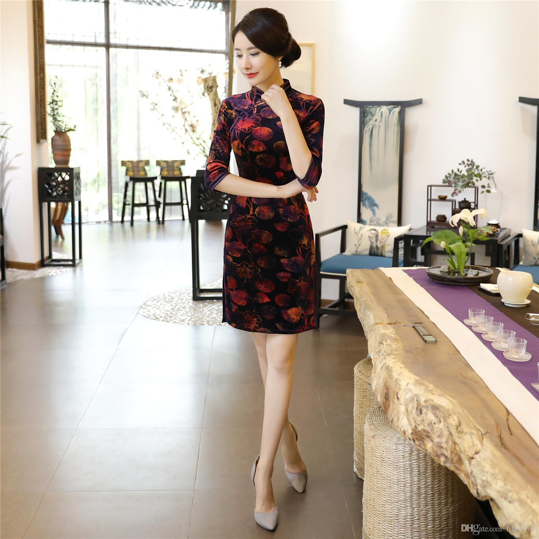 19c03cace86 Shanghai Story Chinese Style Dress Velvet Qipao Dress Oriental Style ...