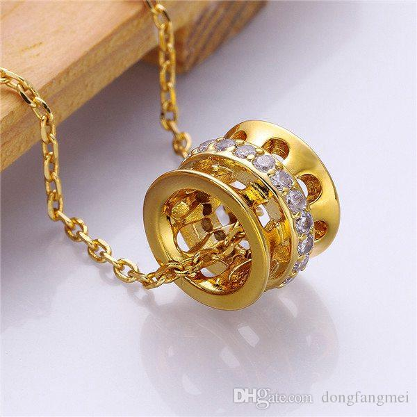 Good A++ Yellow Gold White crystal jewelry Necklace for women DGN808,mosaic 18K gold gem Pendant Necklaces with chains