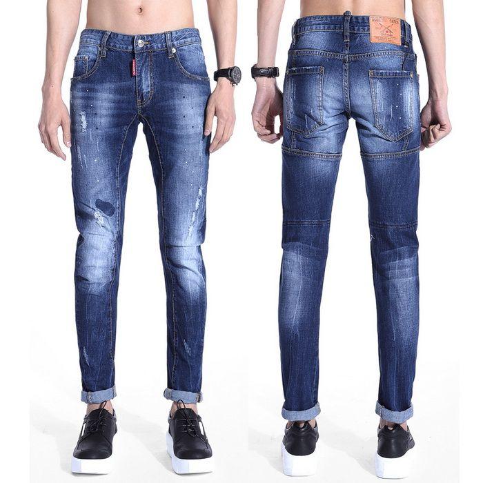 2017 Draping Cut Skinny Stretch Jeans Men Elastic Male Denim Pants ...