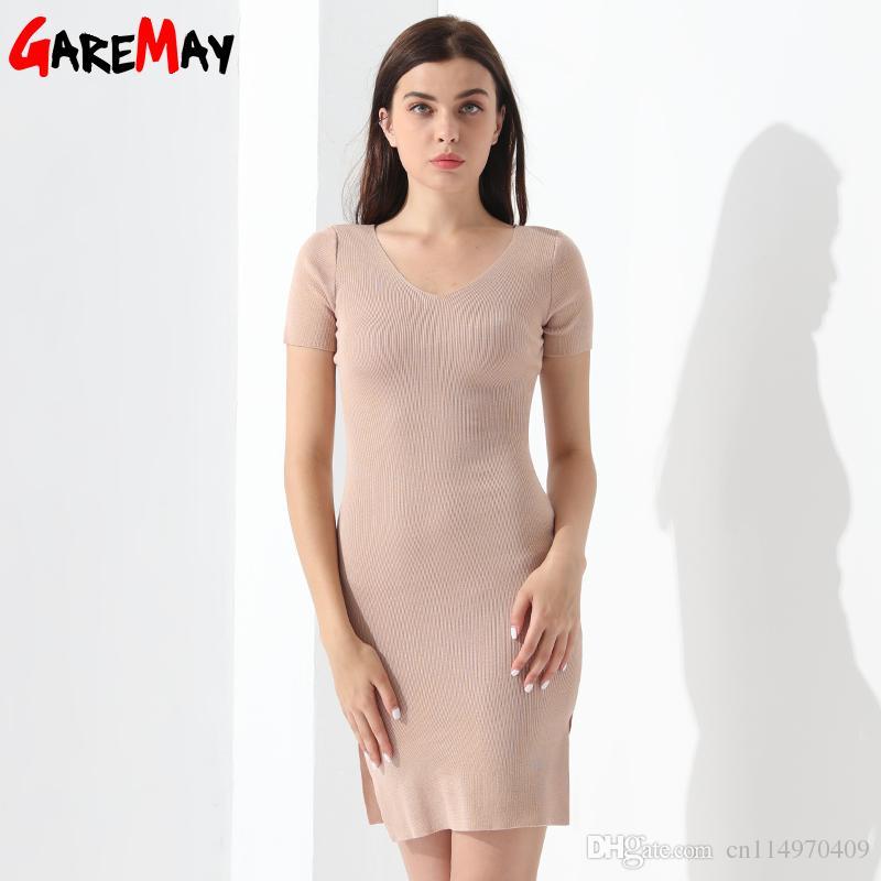 Knitted Dress Women Summer Slim Party Dress V Neck Elegant Short ...
