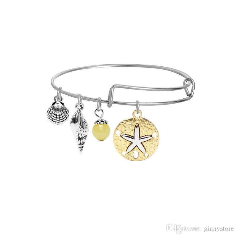 Luxury Bracelets Adjustable Charm Statement Bracelets Silver Gold Bangle With Tree Of Life Palm Wish Anchor Sea Horse Charms Jewelry