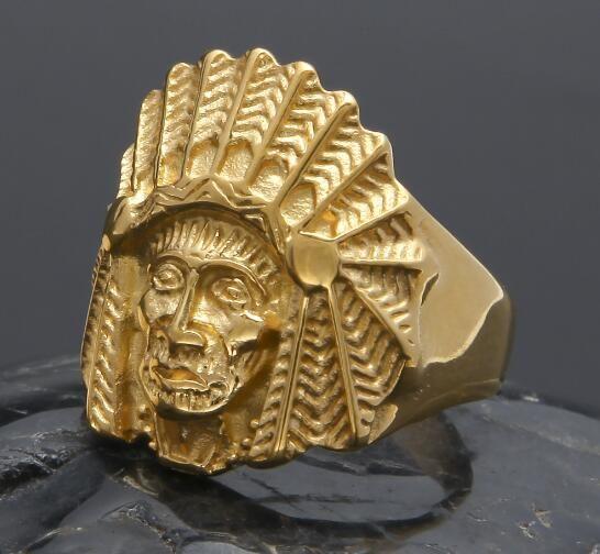 Heißer verkauf neue alloyMen Frauen Vintage edelstahl Ring Hip hop Punk Stil Gold Alte Maya Tribal Indian Chief Ringe Modeschmuck