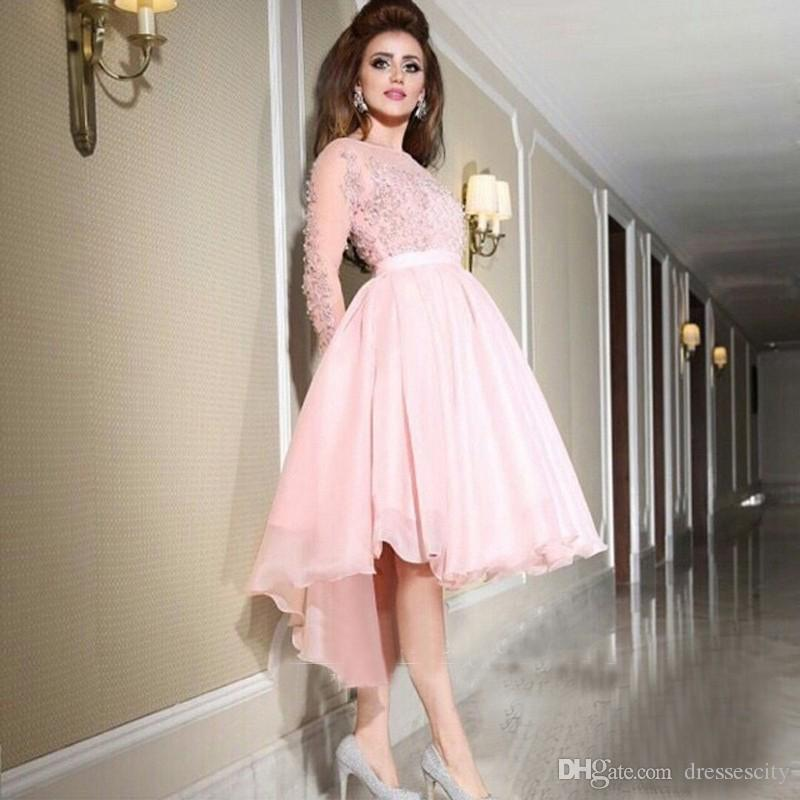 Sheer Long Sleeve Light Pink Prom Dresses 2017 Applique Beaded Short ...