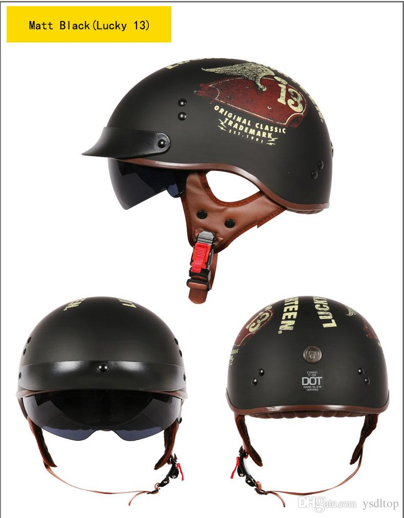 2017 Women and Men Retro Half Face Motorcycle Halley Helmets With Inner Len The Torc Moto Half-Face Safe Helmets Dot Approved XXL