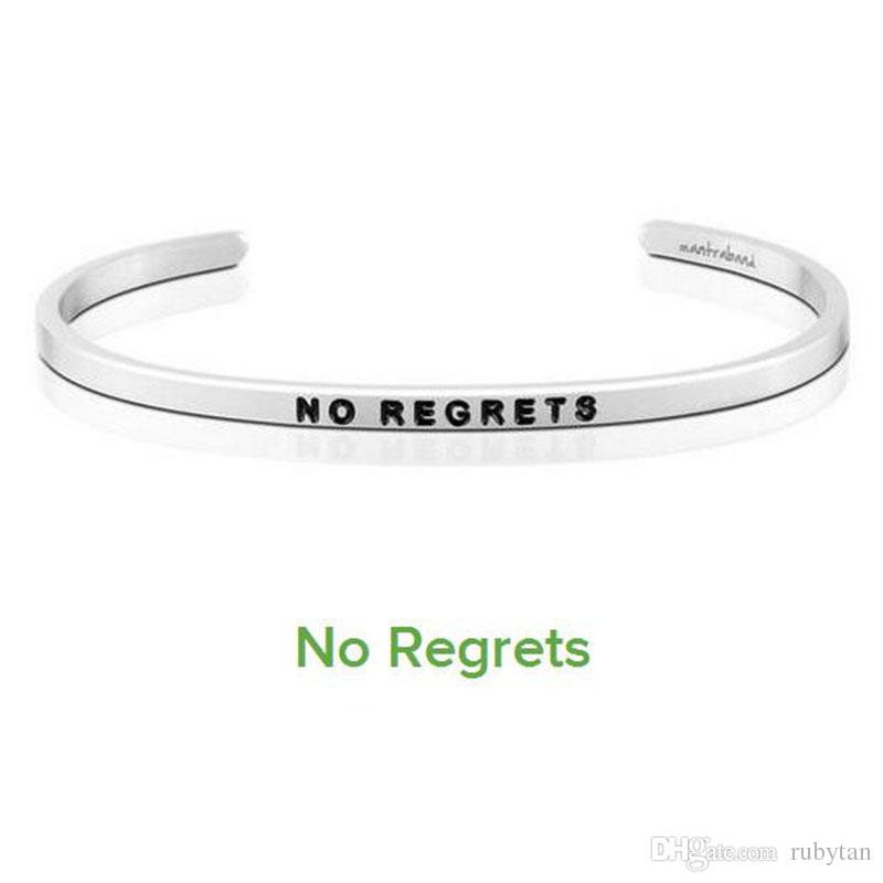 Hot sell NO REGRETS Cuff Mantra Bracelet Bangle Stainless Steel Engraved Positive Inspirational Quote Bangle