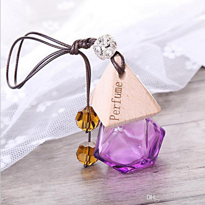 Botella de perfume del coche de cristal con madera hermosa tapa vacía botella recargable que cuelga lindo ambientador portador F20171208