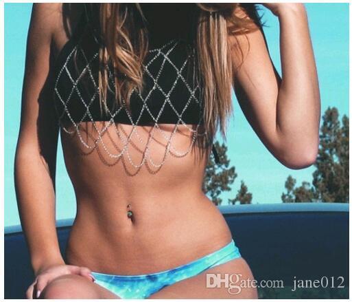 Mode Trendy Sexy Strand Schmuck Körper Kette Handgemachte Geometrische Mesh Brust Brust Ketten Halskette freies verschiffen