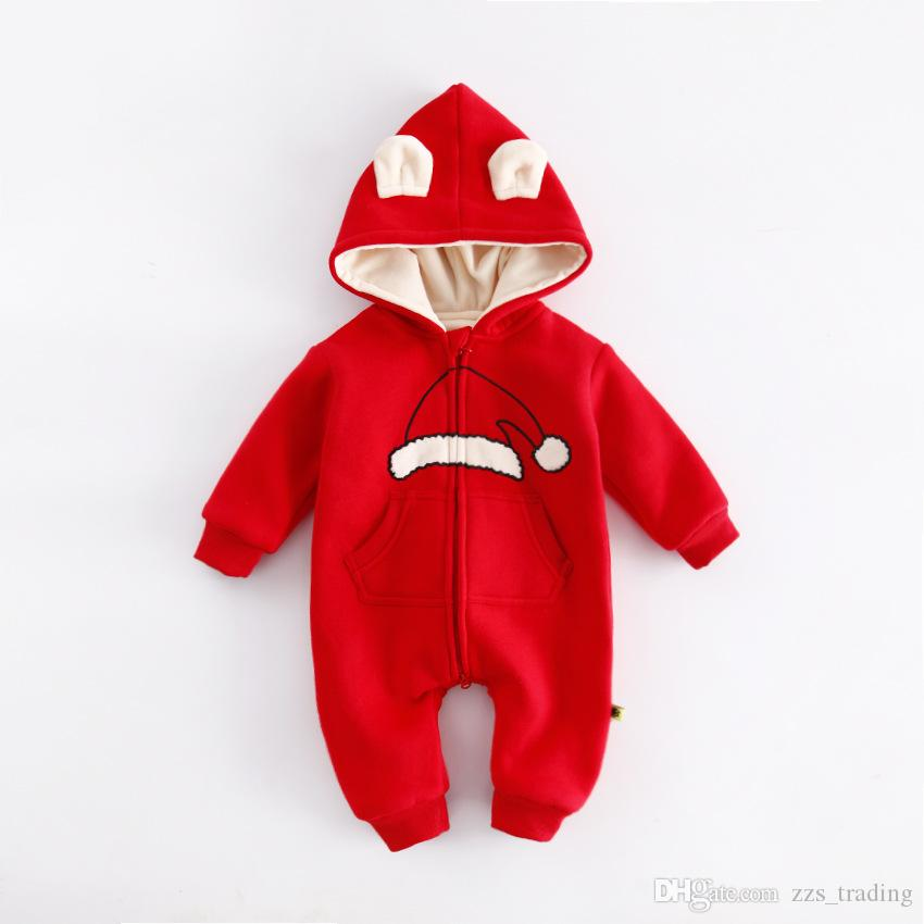 8ca1e2479c7b 2019 Baby Clothing Christmas Red Rompers Newborns Body Suit Kids Clothes  Boy Girl Jumpsuit Baby Romper Hooded Warm Cotton Infant Overall From  Zzs trading