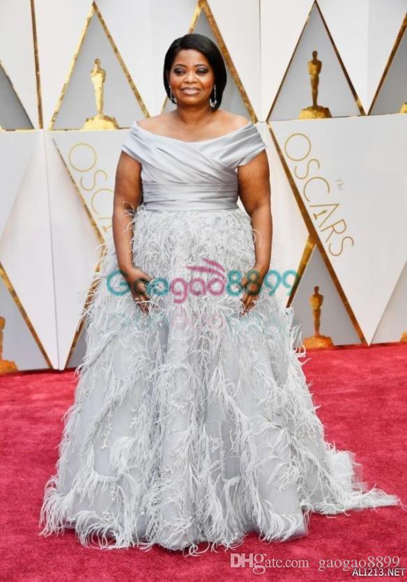 2019 Oscars Octavia Spencer in Marchesa Award Feather Puffy Evening Formal Dresses Off-shoulder Dubai Arabic Plus Size Prom Dresses