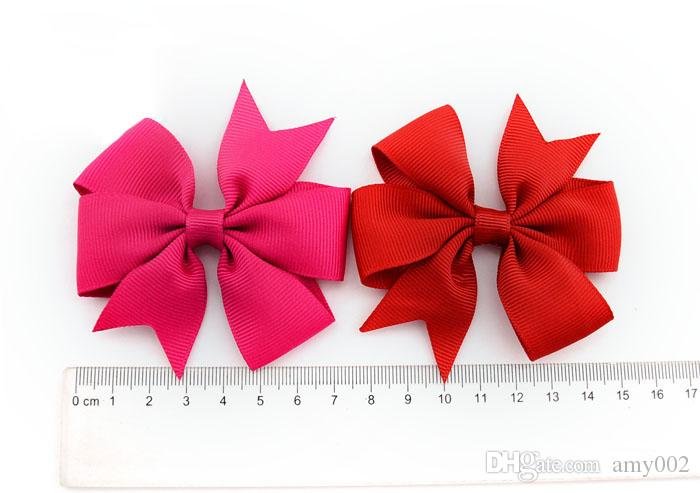 DHL Bowknot hairpin 3 inch Barrettes grosgrain ribbon hair bows children hair accessories baby hairbows girl hair clip