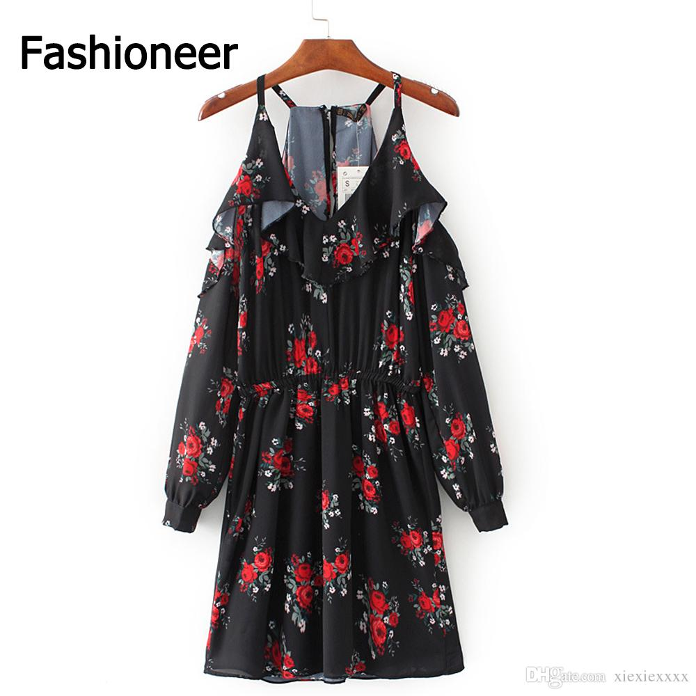 d2ae78b4cd323 Fashioneer Women Vintage Floral Printed Loose Dress Loose Butterfly Long  Sleeve V Neck Ladies Casual Retro Dresses 2017 New Girls Party Dresses  Evening Gown ...