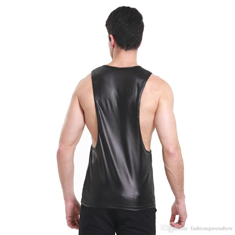 Confortable couleur noir rouge débardeurs hommes faux cuir singulet t-shirt boxer sans manches profonde emmanchure gilet