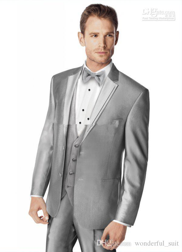 Nova chegada!!! Bonito Silver Colour Noivo Groomman Tuxedo jaqueta + calça + gravata + colete