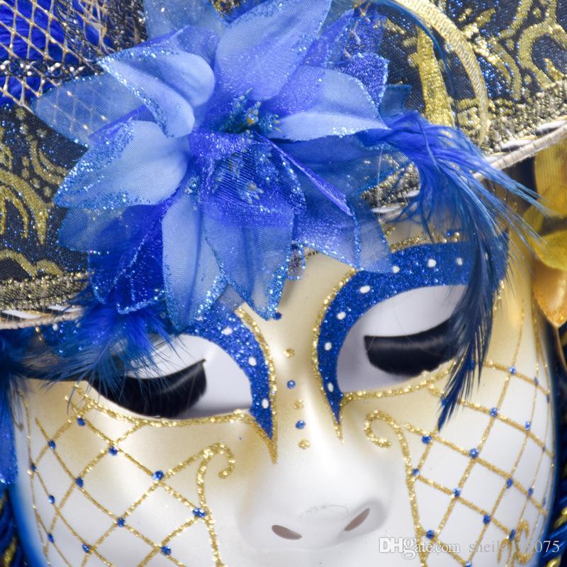 2017 Cadılar Bayramı boyalı şapka kadın maske Venedik lüks masquerade devekuşu saç maskesi yetişkin özel