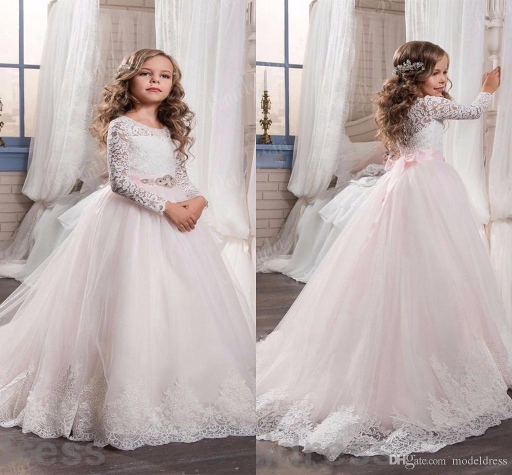 2017 new blush pink lace flower girl dresses for weddings long 2017 new blush pink lace flower girl dresses for weddings long sleeves ball gown long first communion dress child party formal wear gowns grey flower girl mightylinksfo