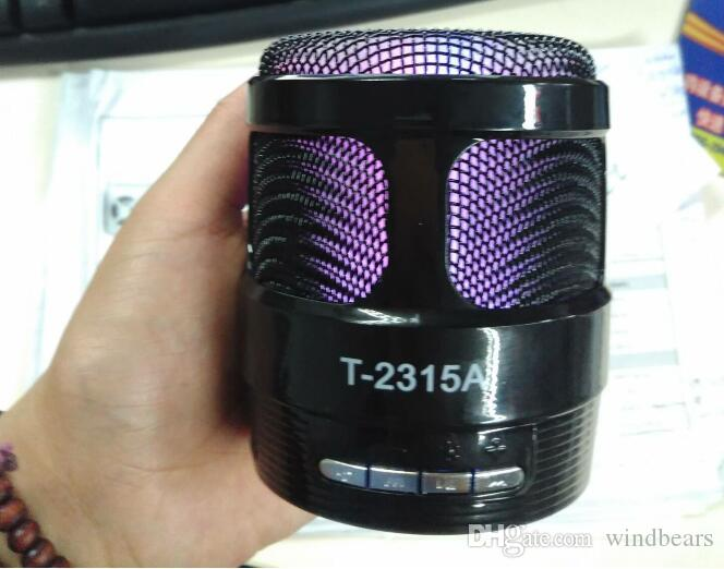 T-2315A 2315A Wireless Bluetooth Speaker with light Mini Card Audio Radio sound box Player Microphone mode MP3 music player