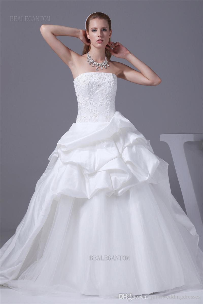 2017 White Sweetheart Lace Ball Gown Wedding Dresses Organza Appliques Beaded Cheap Lace Up Plus Size Bridal Gowns BM48
