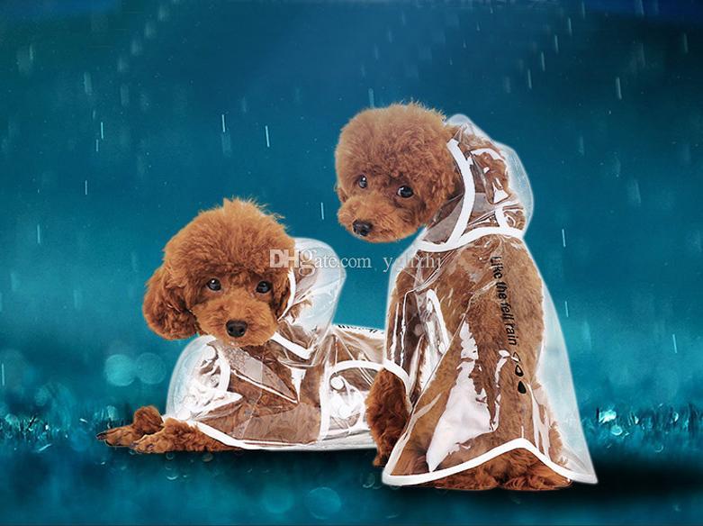 Оптовые зоотовары, прозрачные водонепроницаемые плащи, щенок с капюшоном плащ дождя, плюшевые плащи, 3 цвета,бесплатная доставка