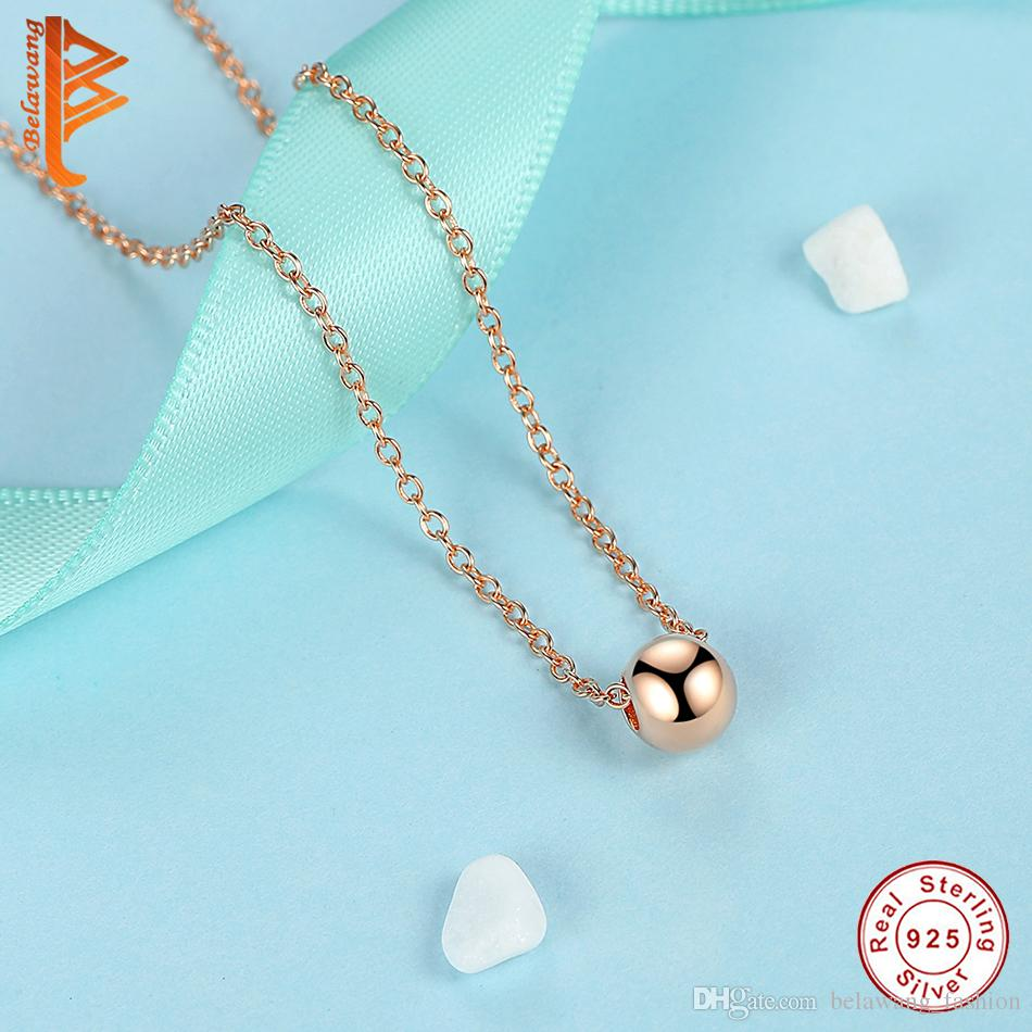BELAWANG Women Necklace 925 Sterling Silver Rose Gold Ball Shape Pendant Necklace Link Chain Necklace Anniversary Birthday Gift Wholesale