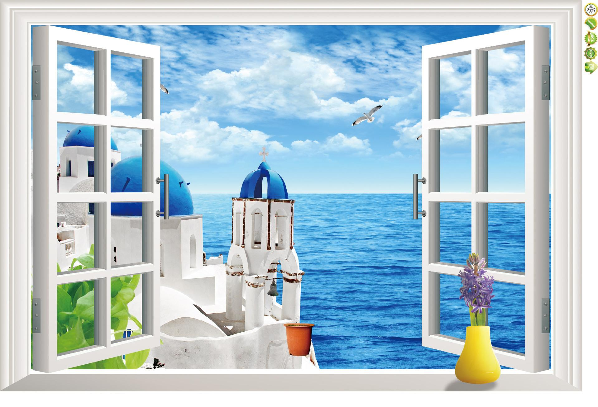 Removable Christmas Wall Stickers 3d Pvc Window Adornment Aegean Sea Landscape Children Home