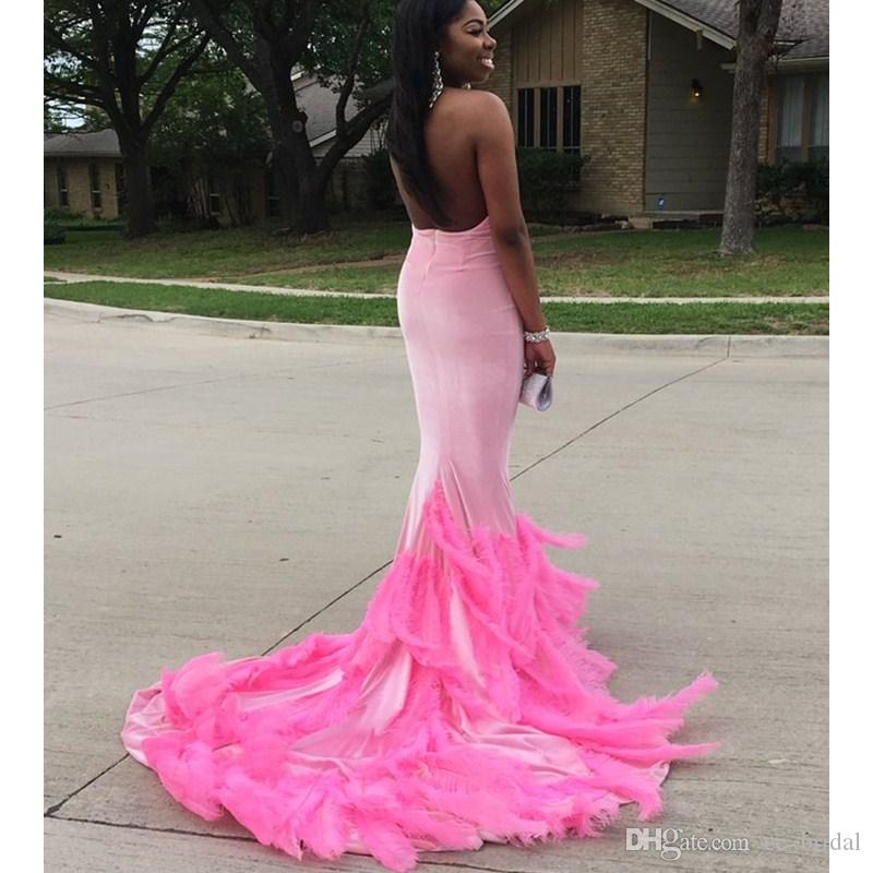 Compre Pink Mermaid Long Prom Dresses 2017 Con Plumas De Lujo ...