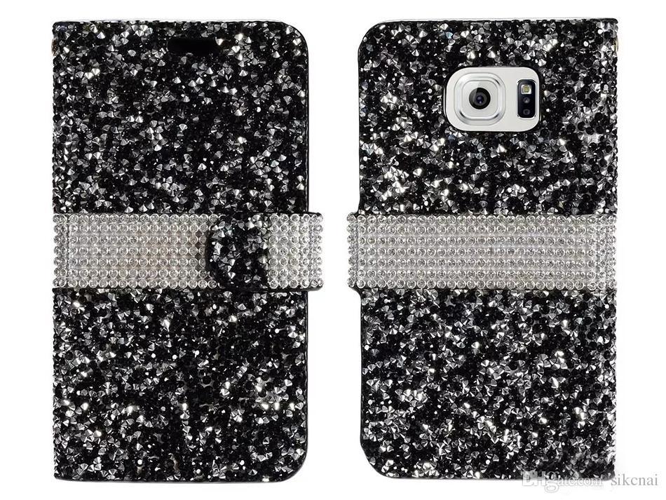 Hybrid Bling Rhinestone Diamond Wallet Cover Case Credit Card Slot for Samsung Galaxy S8 Plus S8 On5 S7 Plus Prime Motorola Moto E4
