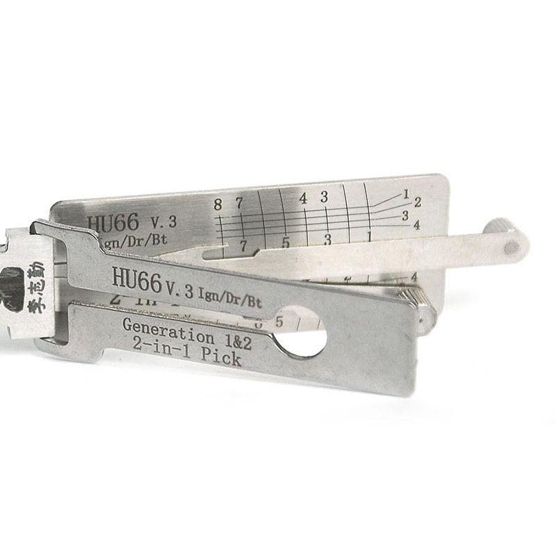 LISHI HU66 V.3 Ign / Dr / Bt 2-in-1 Auto Pick و Decoder لـ VW / Audi / Skoda / SEAT / Roewe 550 ، إلخ أداة قفال