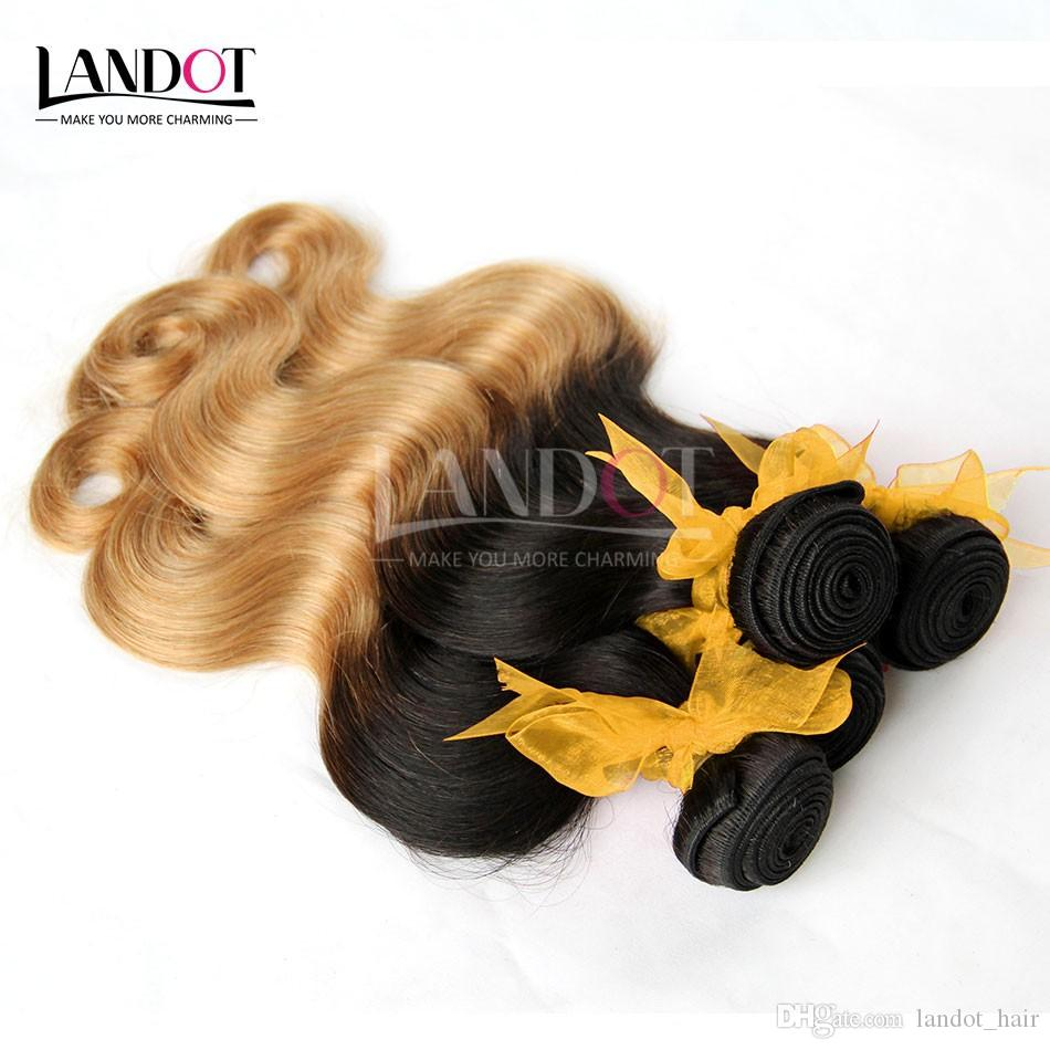Ombre Indian Body Wave Virgin Human Hair Extensions Two Tone 1B/27# Honey Blonde Ombre Indian Body Wavy Remy Human Hair Weaves 3Bundles