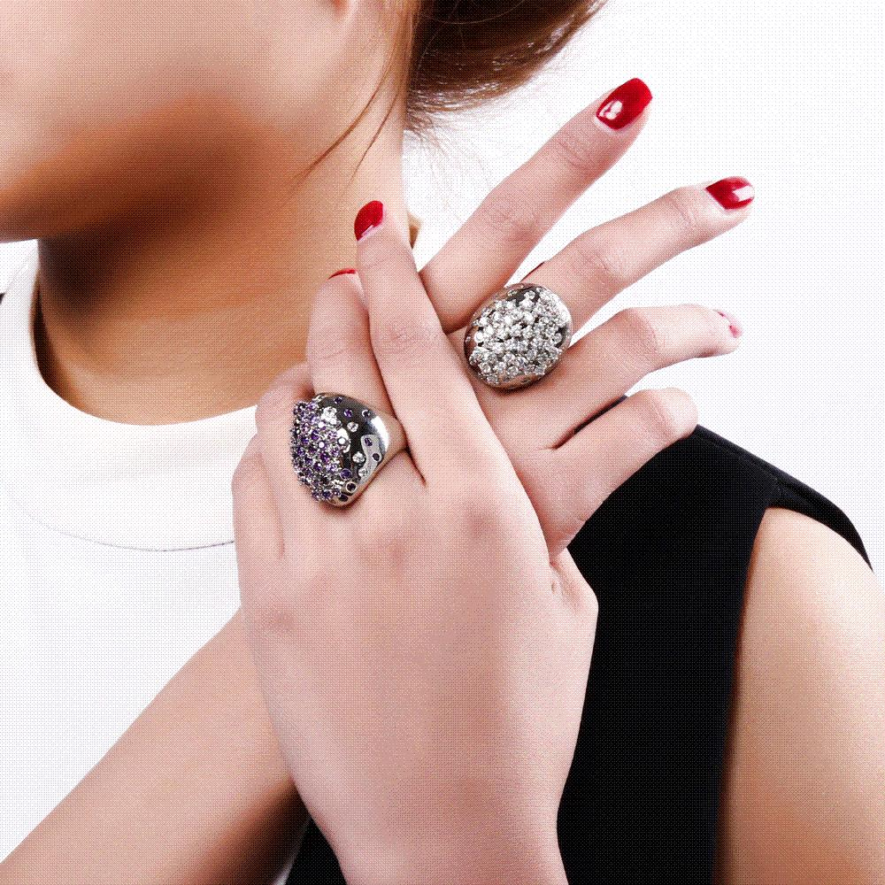 Fashion Colorful Crystal Large Rings for Party with AAA Cubic ...