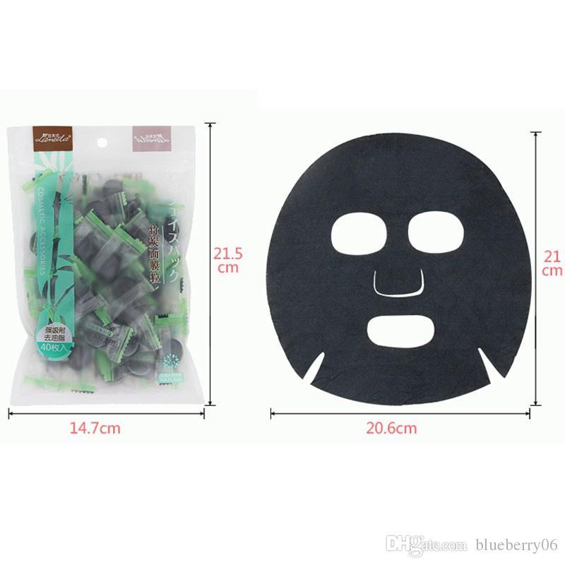Carbón de leña mascarilla comprimida del carbón de leña DIY Máscara facial negro telas no tejidas fuerte adsorción aceite control 40 unids