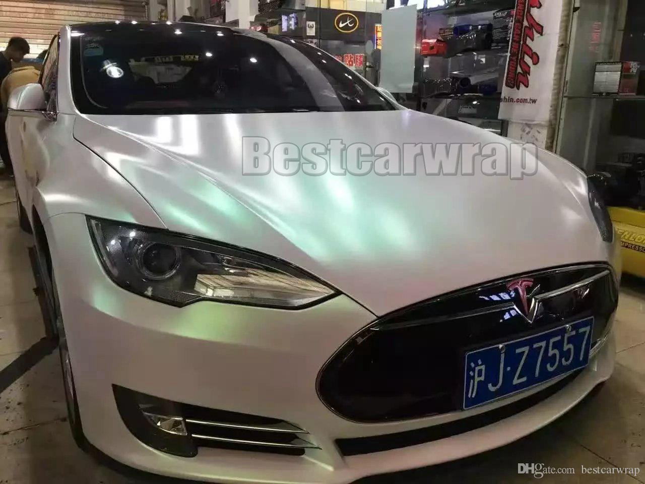 2018 Satin Aurora Pearl White Vinyl Car Wrap Film With