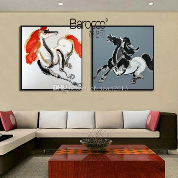 2 Pieces Pure Hand Painted Abstract Animal Horse Oil Painting on Canvas Modern Fashion Home Wall Art Decoration