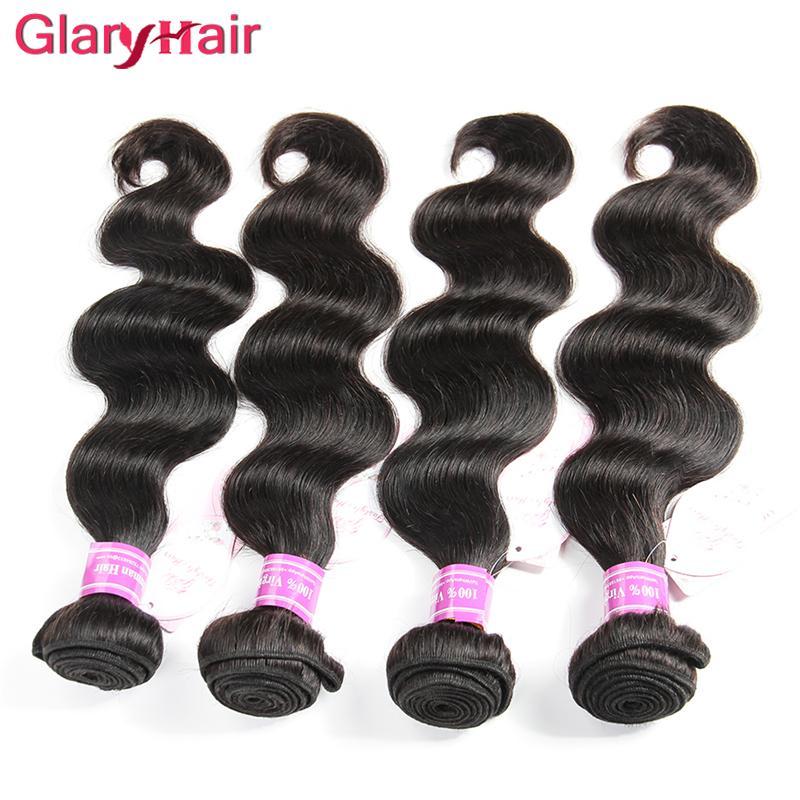 Glary Bakire Saç Demetleri Brezilyalı İnsan Saç Uzantıları 4/5/6 Parça Mix Uzunluğu Remy İnsan Saç Siyah Kadınlar Için Demetleri Ucuz fiyat