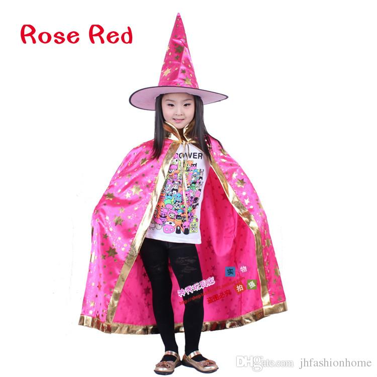 130G Halloween party accessories Boys and girls cloak Witch Wizard Cloak Gown Robe and Hat Cap Star Fancy Cosplay for Children