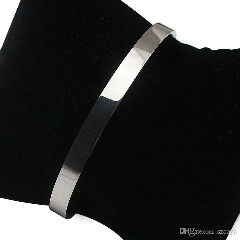 Argent couleur en acier inoxydable Bracelet longueur chaîne réglable bijoux pour les femmes Bracelets Charms peut être personnaliser nom dessus