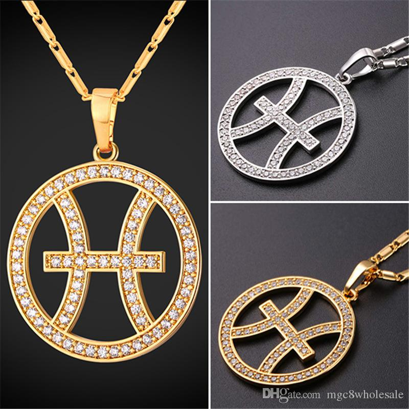 Wholesale u7 zodiac charms pisces pendant necklace simple womenmen wholesale u7 zodiac charms pisces pendant necklace simple womenmen jewelry gift rhinestone goldplatinum plated necklace perfect gifts p2502 silver bangles mozeypictures Choice Image